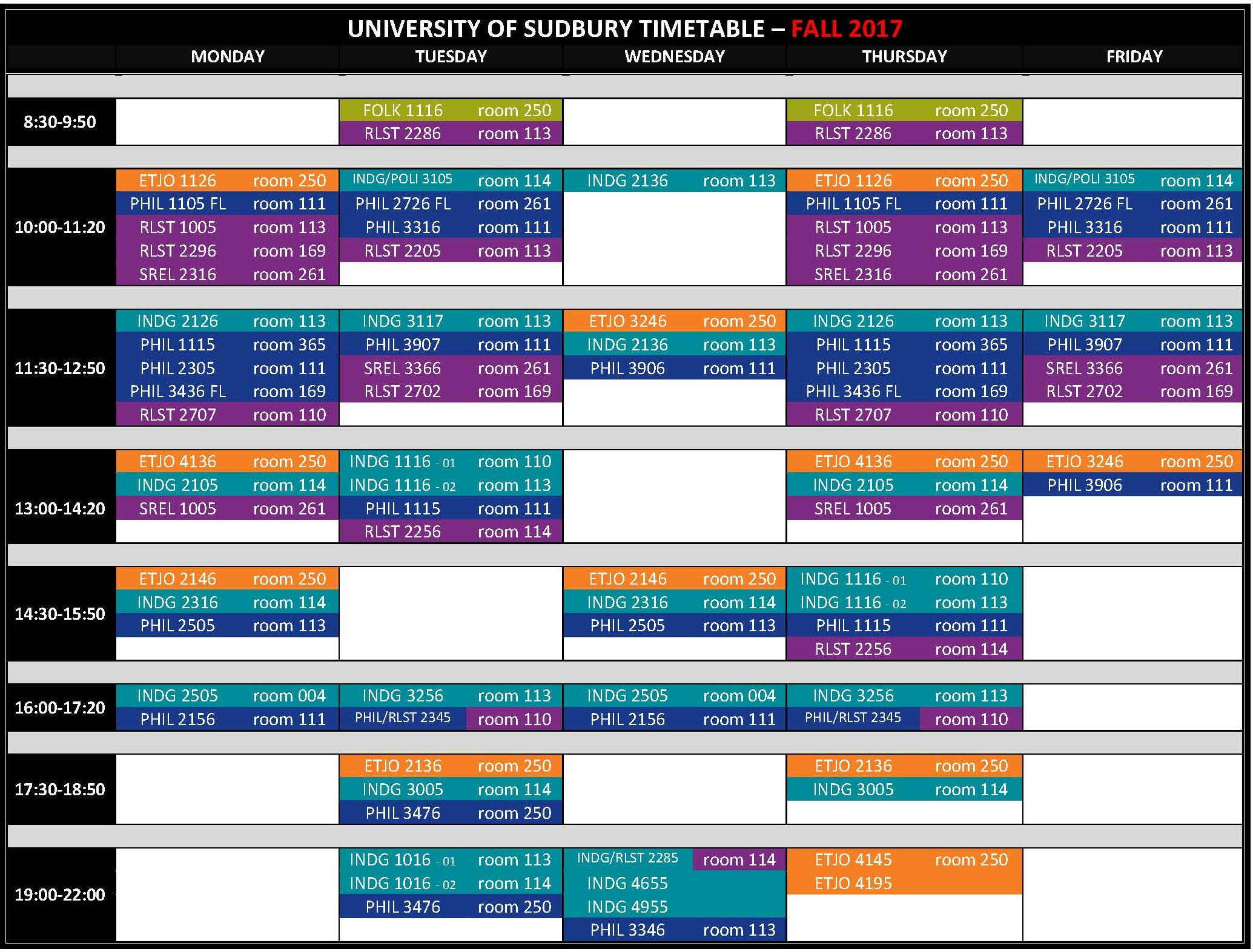 UNIVERSITY OF SUDBURY TIMETABLE 2017 2018 Fall 2017.4