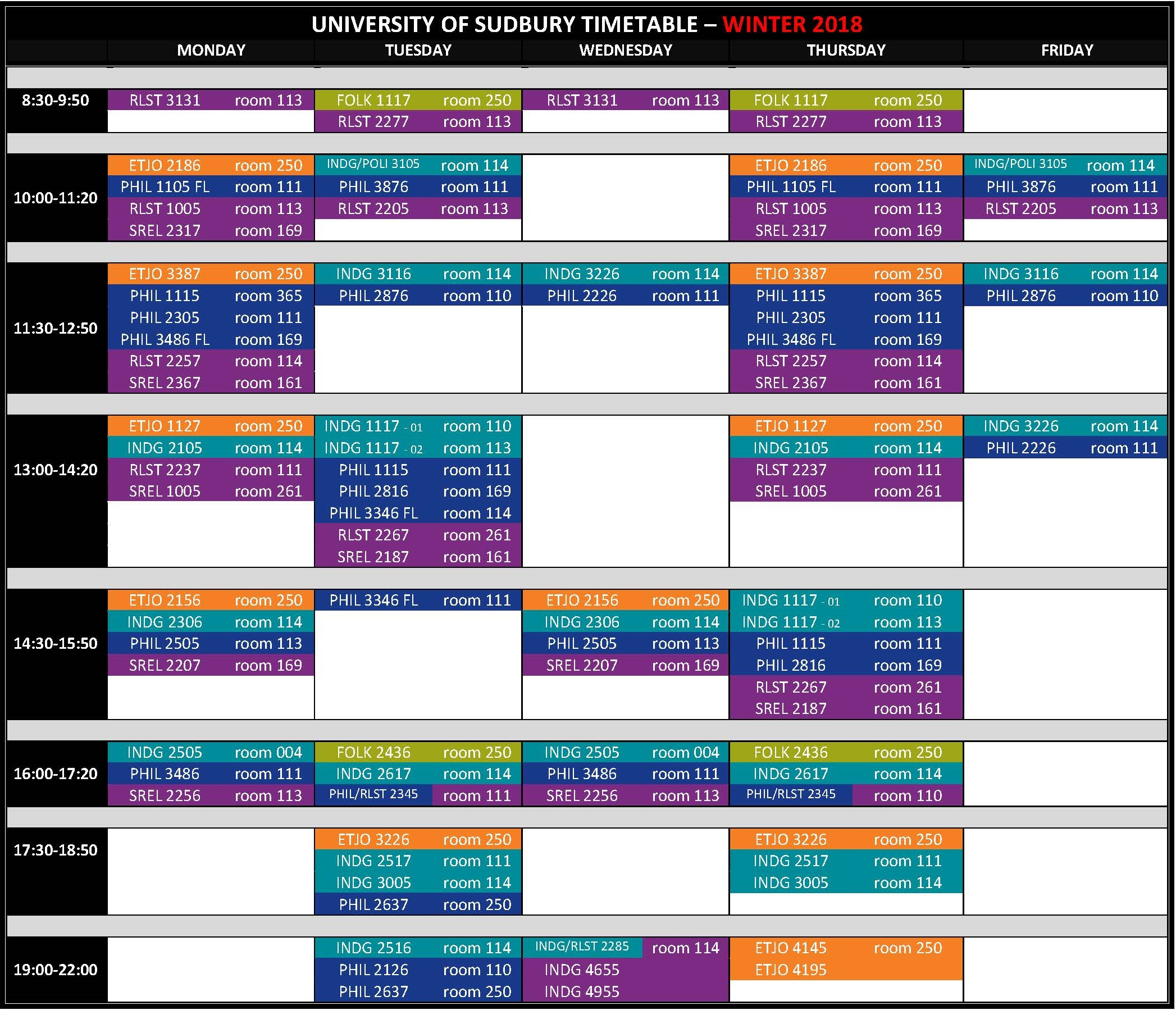 UNIVERSITY OF SUDBURY TIMETABLE 2017 2018 Winter 2018.4