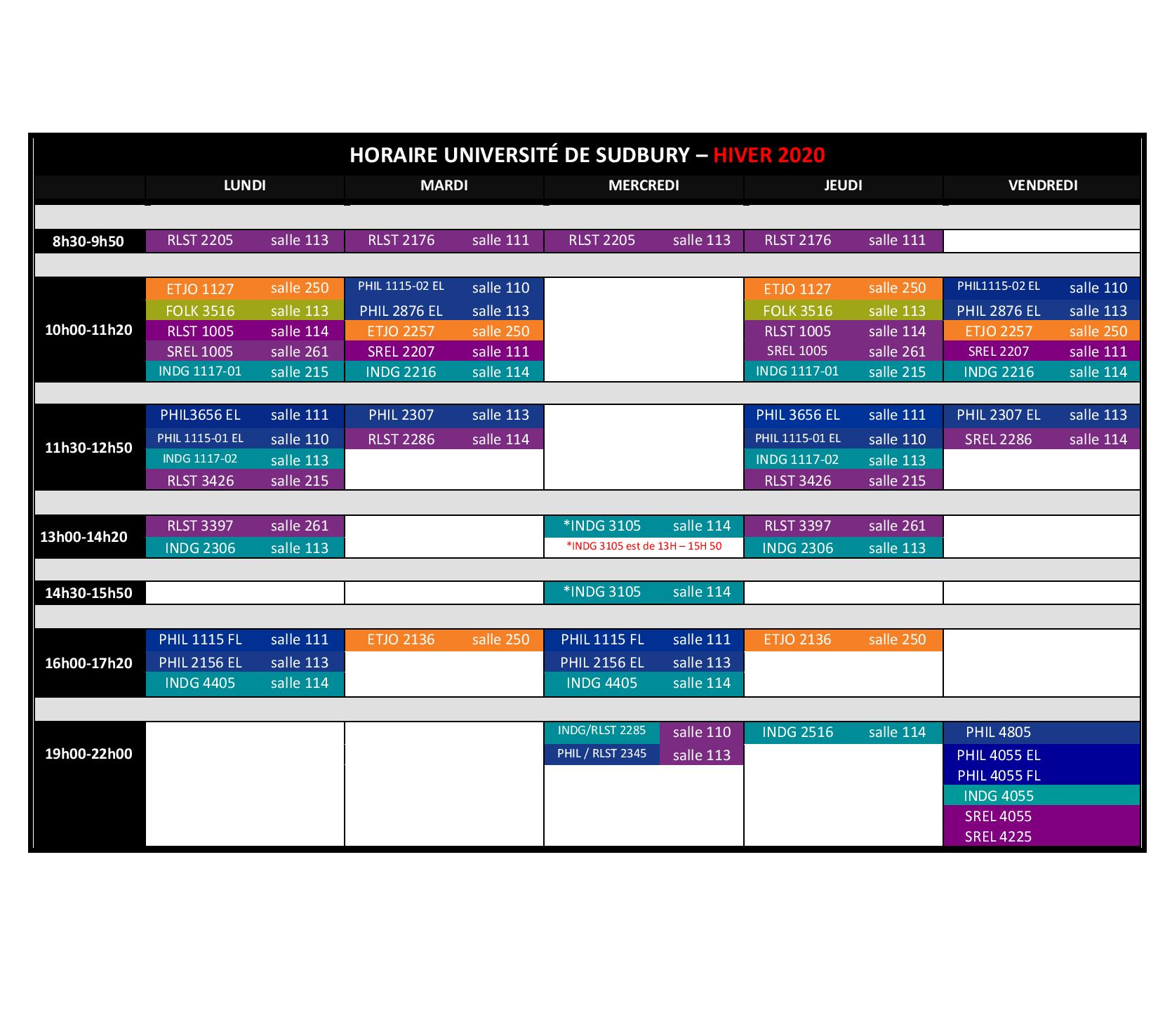 UNIVERSITY OF SUDBURY TIMETABLE 2018 2019 FR 4