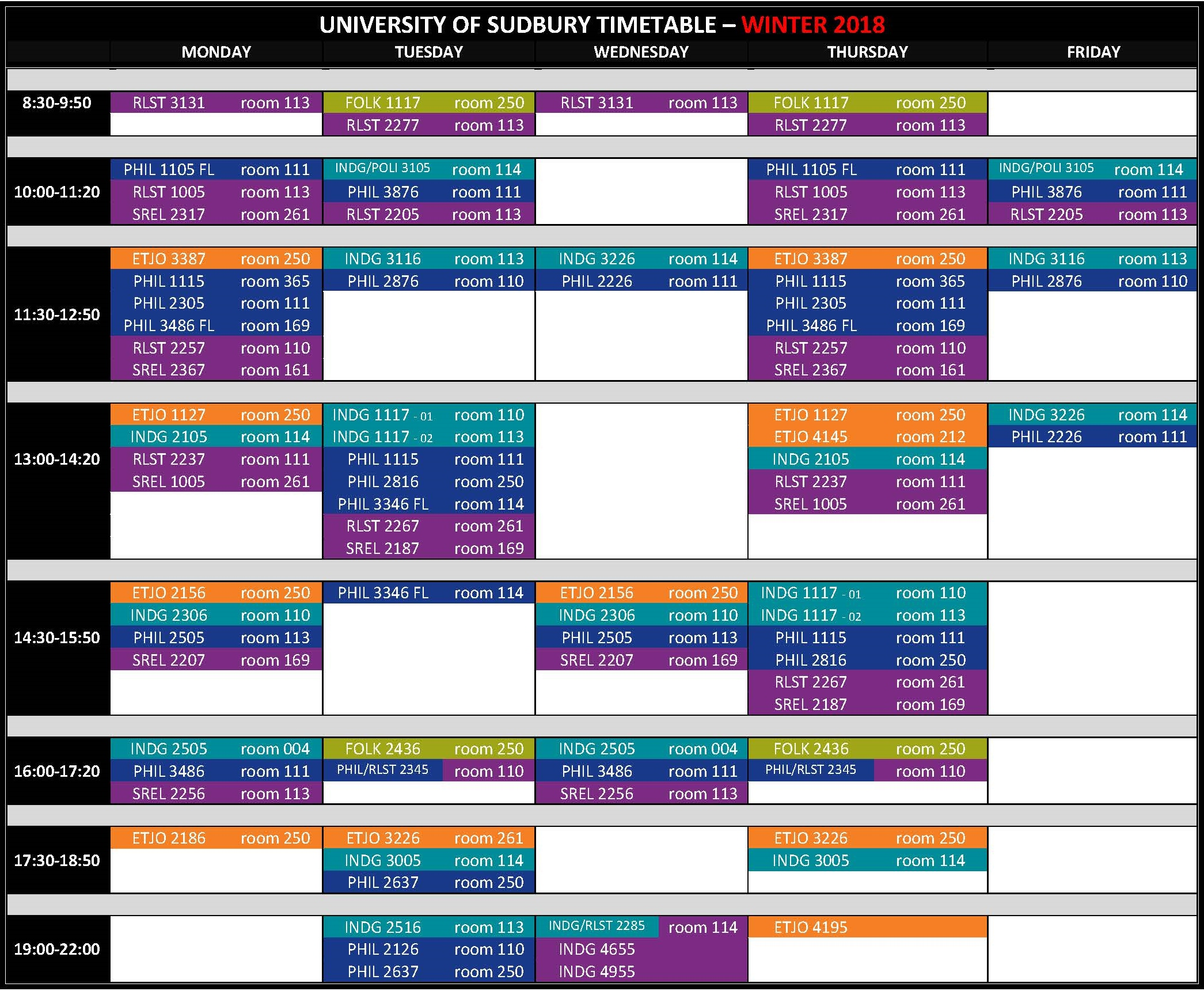 UNIVERSITY OF SUDBURY TIMETABLE 2017 2018 Winter 2018.13